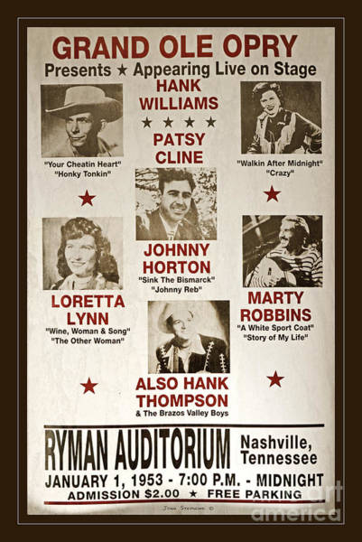 Nashville Photograph - Vintage 1953 Grand Ole Opry Poster by John Stephens