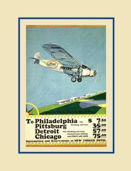 Photograph - Vintage Airline Ad 1929 by Andrew Fare