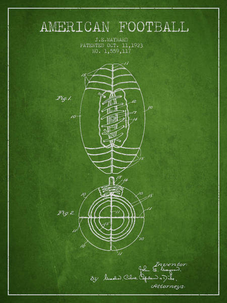 American Football Digital Art - Vintage American Football Patent Drawing From 1923 by Aged Pixel
