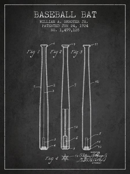 Baseball Bat Patent Wall Art - Digital Art - Vintage Baseball Bat Patent From 1924 by Aged Pixel