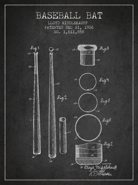 Wall Art - Digital Art - Vintage Baseball Bat Patent From 1926 by Aged Pixel