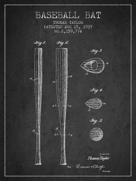 Baseball Bat Patent Wall Art - Digital Art - Vintage Baseball Bat Patent From 1939 by Aged Pixel