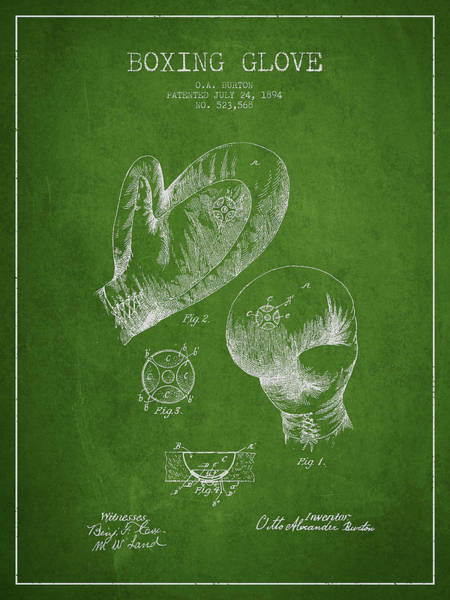 Gloves Digital Art - Vintage Boxing Glove Patent Drawing From 1894 by Aged Pixel