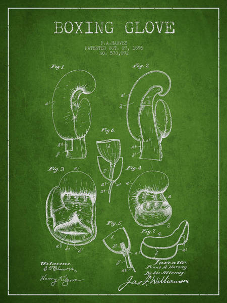 Gloves Digital Art - Vintage Boxing Glove Patent Drawing From 1896 by Aged Pixel