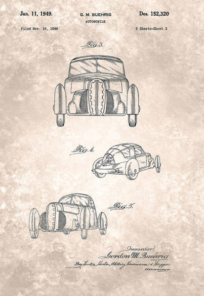 Painting - Vintage Buehrig Automobile Patent From 1946 by Celestial Images