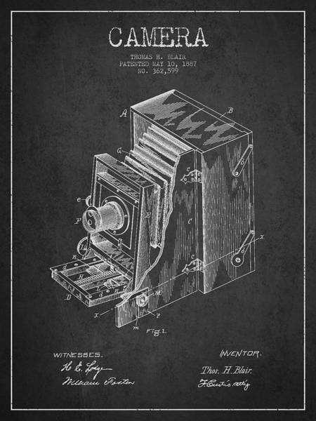 Lens Digital Art - Vintage Camera Patent Drawing From 1887 by Aged Pixel