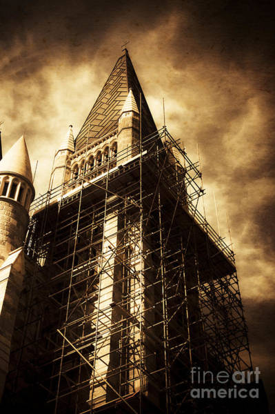 Scaffold Photograph - Vintage Church Column Construction by Jorgo Photography - Wall Art Gallery