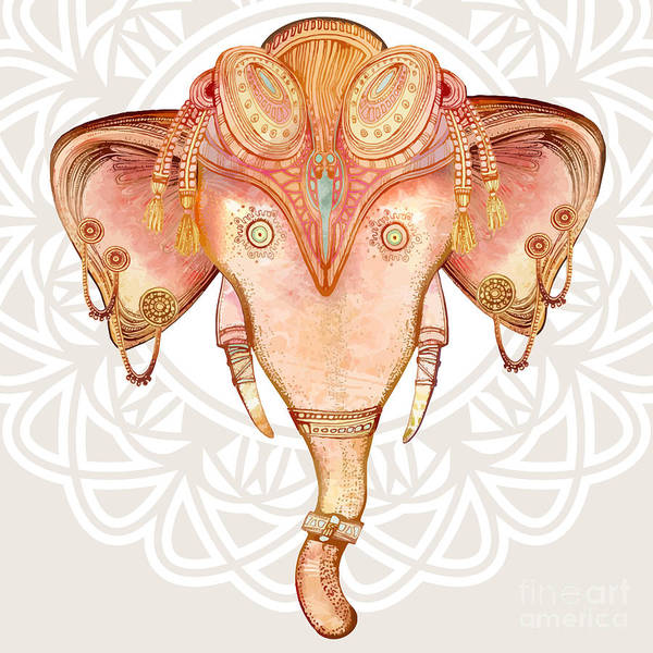 African Tribal Digital Art - Vintage Elephant Illustration.hand Draw by Polina Lina