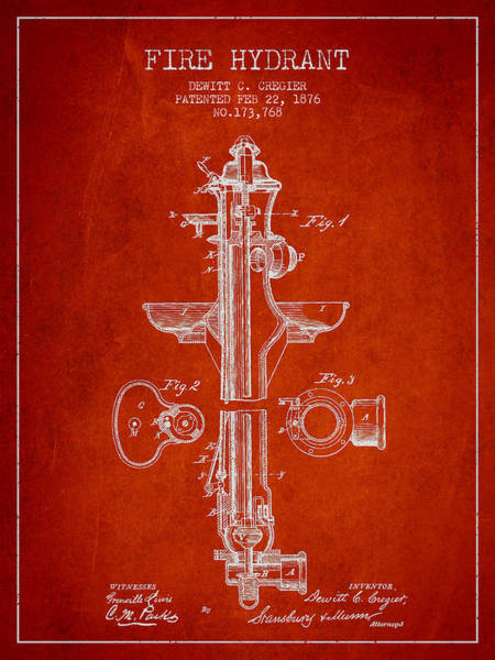 Intellectual Property Wall Art - Digital Art - Vintage Fire Hydrant Patent From 1876 by Aged Pixel
