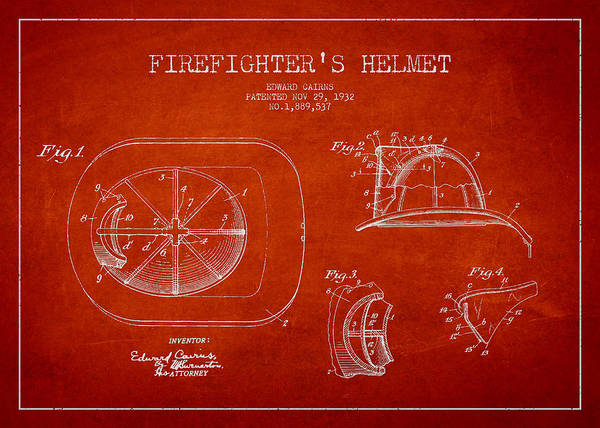 Patent Drawing Wall Art - Digital Art - Vintage Firefighter Helmet Patent Drawing From 1932 by Aged Pixel