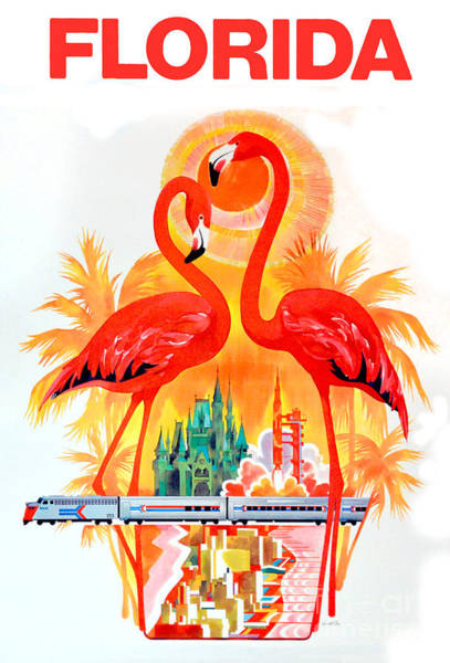Flamingos Wall Art - Drawing - Vintage Florida Travel Poster by Jon Neidert