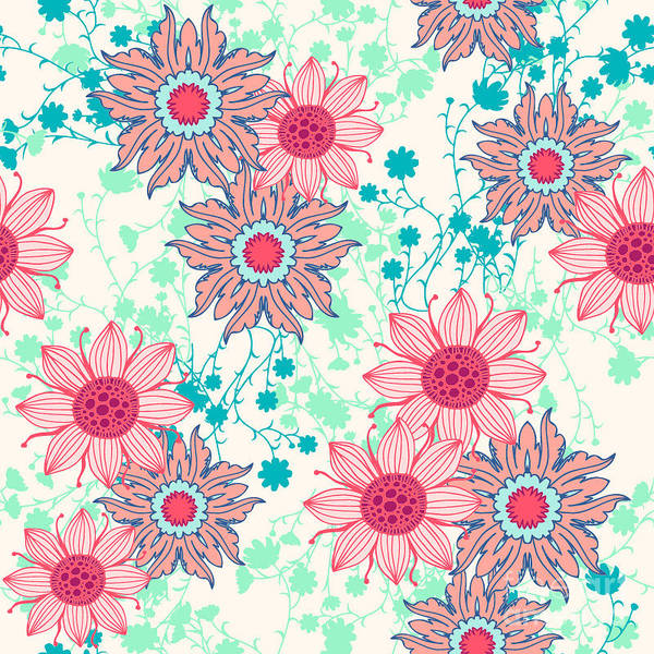 Plant Digital Art - Vintage Flower Pattern Print For by Studio K