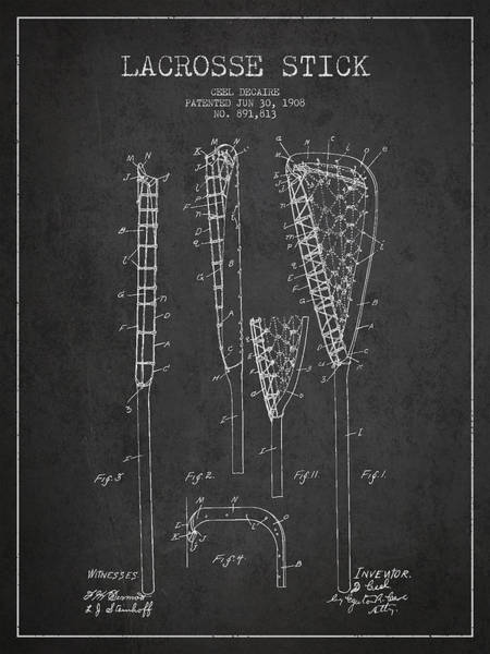 Stick Digital Art - Vintage Lacrosse Stick Patent From 1908 by Aged Pixel