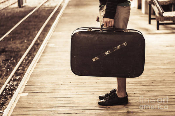 Wall Art - Photograph - Vintage Man With Old Luggage At Train Station  by Jorgo Photography - Wall Art Gallery
