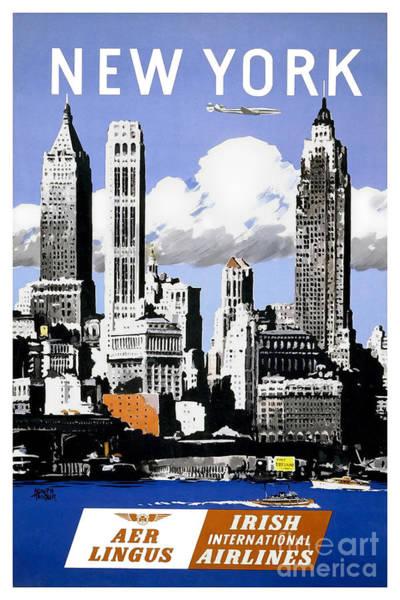 Brochure Drawing - Vintage New York Travel Poster by Jon Neidert