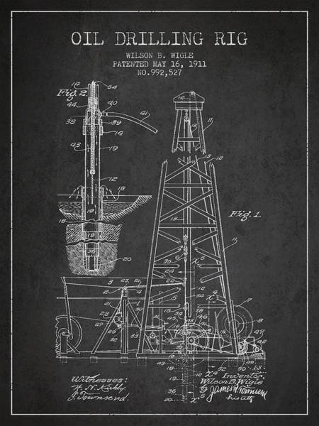 Intellectual Property Wall Art - Digital Art - Vintage Oil Drilling Rig Patent From 1911 by Aged Pixel