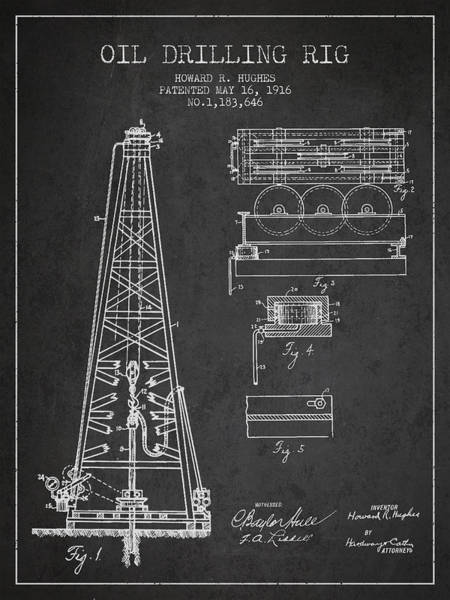 Intellectual Property Wall Art - Digital Art - Vintage Oil Drilling Rig Patent From 1916 by Aged Pixel