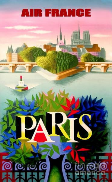 Plane Drawing - Vintage Paris Travel Poster by Jon Neidert