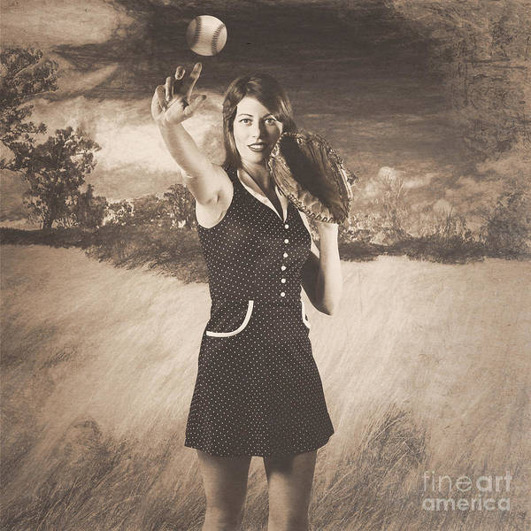 Pin-up Photograph - Vintage Pin Up Girl Pitching Baseball by Jorgo Photography - Wall Art Gallery