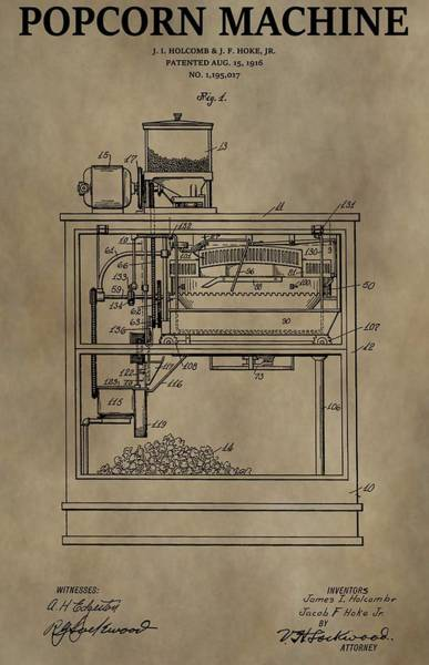 Wall Art - Drawing - Vintage Popcorn Machine Patent by Dan Sproul