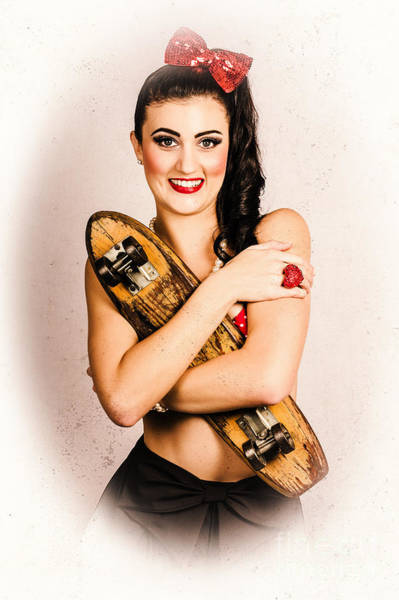 Skater Photograph - Vintage Portrait Of A Pin-up Model With Skateboard by Jorgo Photography - Wall Art Gallery