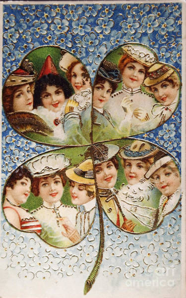Four Leaf Clover Photograph - Vintage Postcard Of 1905 With A Lucky Clover Filled With Beautif by Patricia Hofmeester