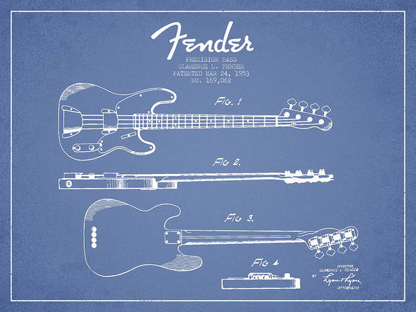 Wall Art - Digital Art - Vintage Precision Bass Patent Drawing From 1953 by Aged Pixel