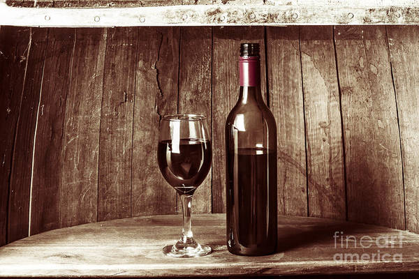 Photograph - Vintage Red Wine In Old Winery Cellar Barrel  by Jorgo Photography - Wall Art Gallery