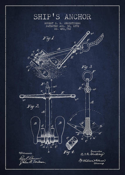 Intellectual Property Wall Art - Digital Art - Vintage Ship Anchor Patent From 1892 by Aged Pixel