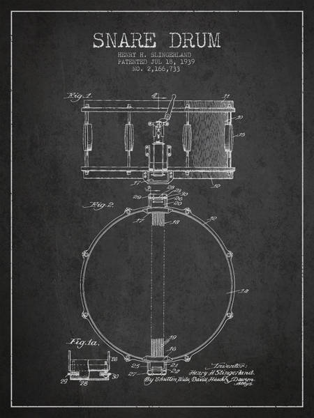 Country Living Digital Art - Snare Drum Patent Drawing From 1939 - Dark by Aged Pixel