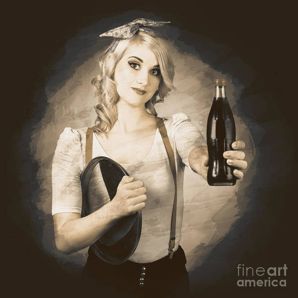 Photograph - Vintage Soda Drink Advert. Pinup With Cola Bottle by Jorgo Photography - Wall Art Gallery