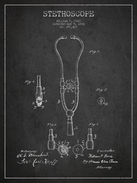 Patent Application Wall Art - Digital Art - Vintage Stethoscope Patent Drawing From 1882 - Dark by Aged Pixel