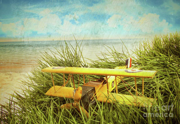 Wall Art - Photograph - Vintage Toy Plane In Tall Grass At The Beach by Sandra Cunningham