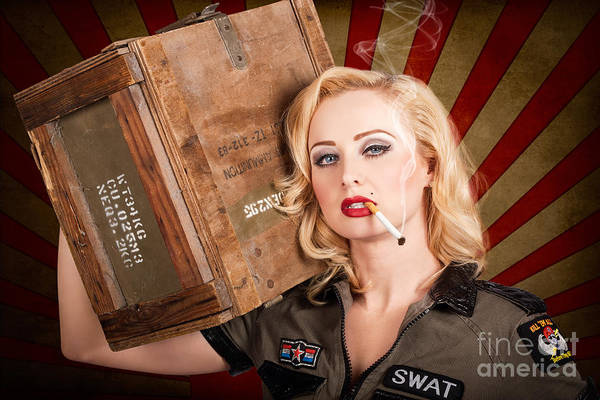 Armament Photograph - Vintage Western Allies Pinup Girl With Cigarette by Jorgo Photography - Wall Art Gallery