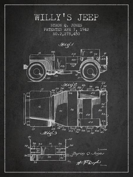 Intellectual Property Wall Art - Digital Art - Vintage Willys Jeep Patent From 1942 by Aged Pixel