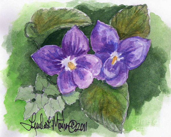 Painting - Violets by Linda L Martin