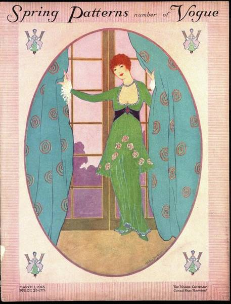 Vogue Cover Illustration Of A Woman In A Green Art Print