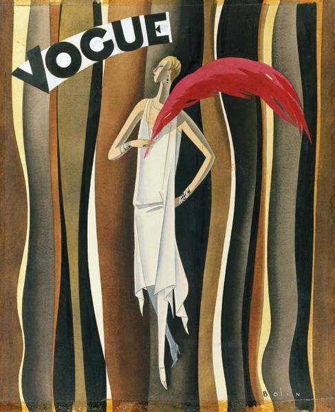 Footwear Digital Art - Vogue Magazine Cover Featuring A Woman In A White by William Bolin
