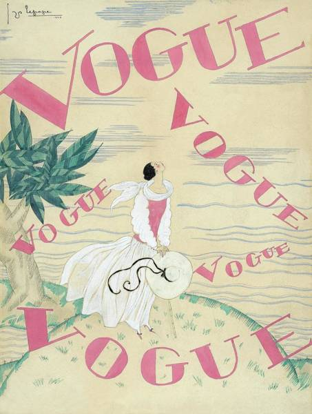 Headgear Digital Art - Vogue Magazine Cover Featuring A Woman Standing by Georges Lepape