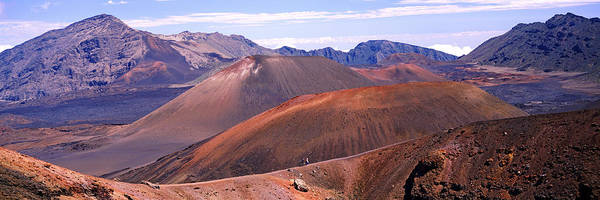 Haleakala Crater Photograph - Volcanic Landscape With Mountains by Panoramic Images