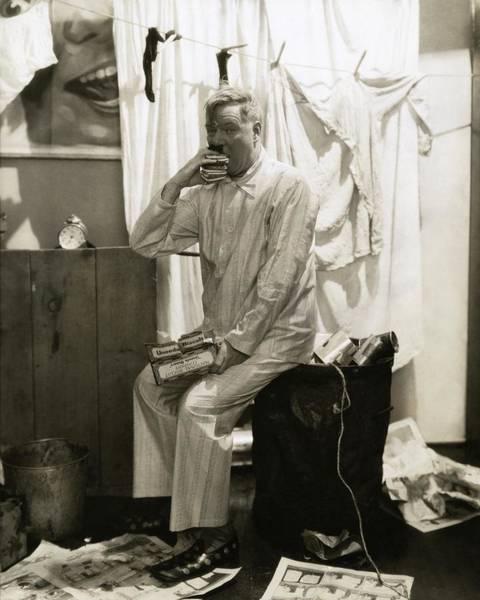 Rubbish Bin Photograph - W. C. Fields Wearing Pyjamas by Edward Steichen
