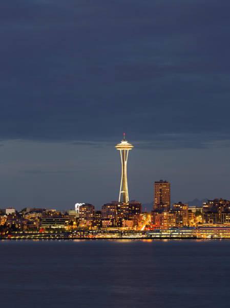 Elliott Bay Photograph - Wa, Seattle, Space Needle And Elliott by Jamie and Judy Wild