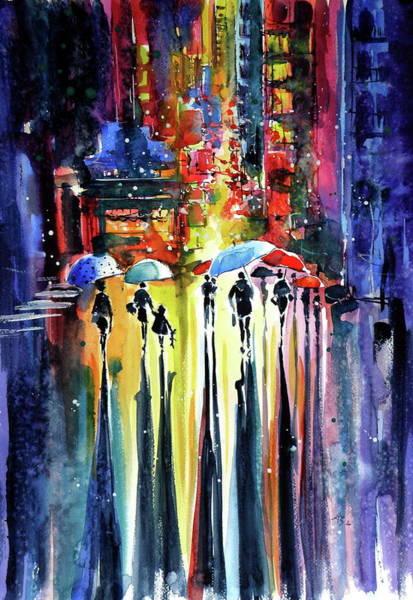 Night Walk Painting - Walk At Night by Kovacs Anna Brigitta