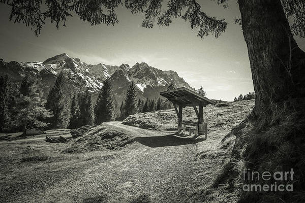 Photograph - walking in the Alps - bw by Hannes Cmarits