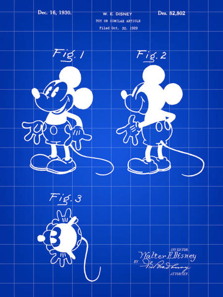 Disney World Digital Art - Walt Disney Mickey Mouse Patent 1929 - Blue by Stephen Younts