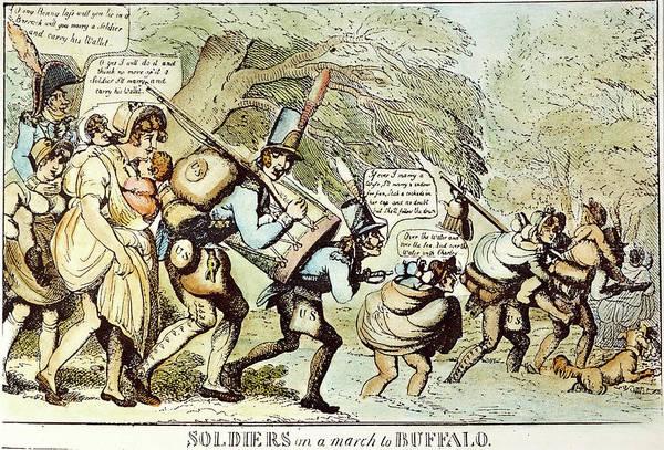 Political Cartoon Painting - War Of 1812 Cartoon, 1813 by Granger