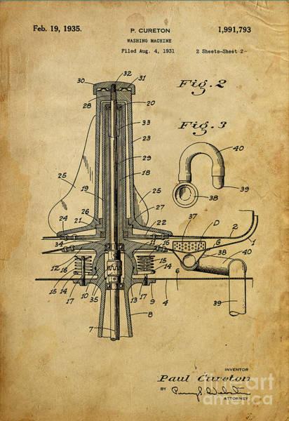 Motor Mixed Media - Washing Machine - Patented On 1931 by Drawspots Illustrations