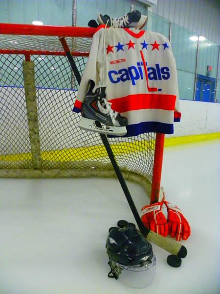 Photograph - Washington Capitals Vintage Home Hockey Jersey by Lisa Wooten