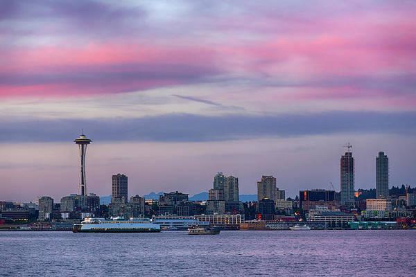 Elliott Bay Photograph - Washington State, Seattle, Space Needle by Jamie and Judy Wild