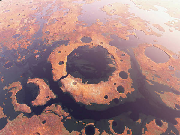 Martian Wall Art - Photograph - Water Around Martian Craters by Kees Veenenbos/science Photo Library